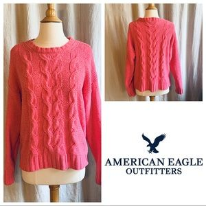 American Eagle Pink Cable Knit Sweater size Medium